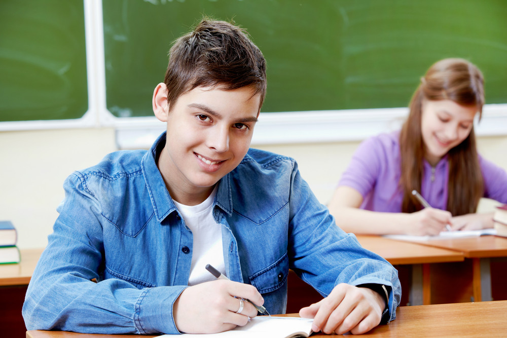 Portrait Of Smart Guy At Workplace Looking At Camera With His Classmate On Background