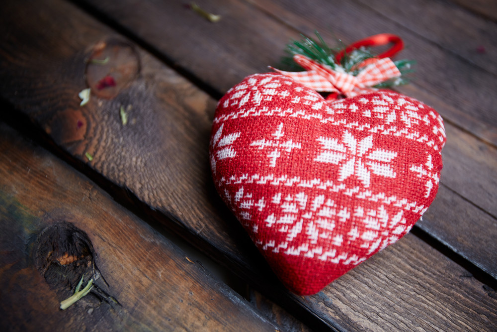 Image Of Red Heart Made Of Fabric On Wooden Background