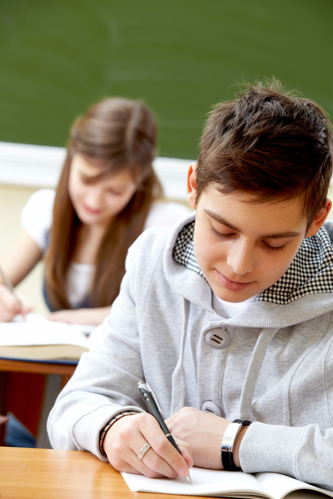 Portrait Of Smart Guy Making Notes In Copybook With His Classmate Behind