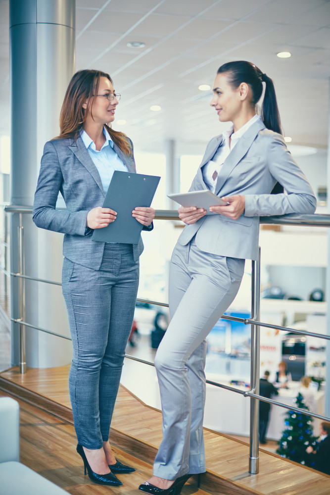 Image Of Two Elegant Businesswomen Interacting At Meeting