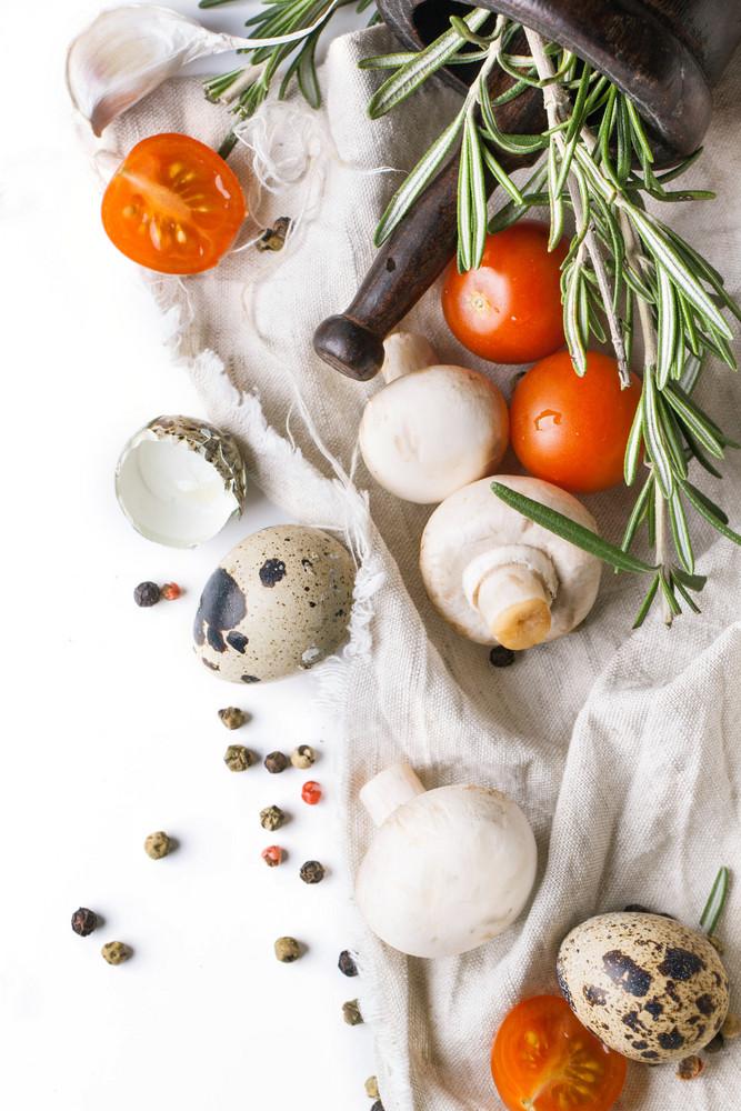 Quail Eggs,  Mushrooms,  Tomatoes And Rosemary