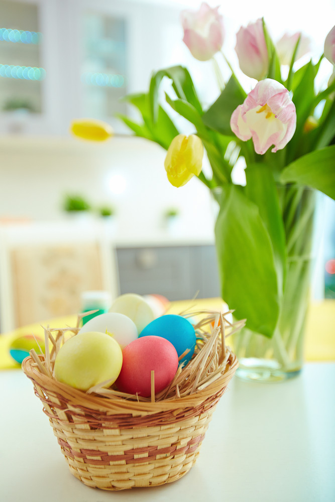 Still-life With Easter Eggs And Flowers