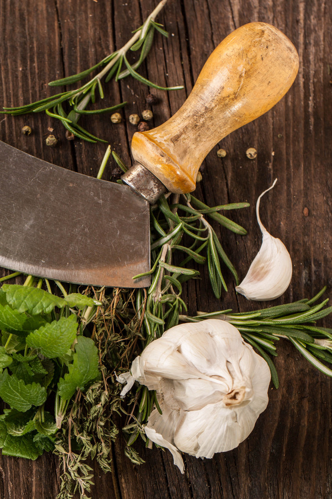 Garlic,  Knife And Herbs