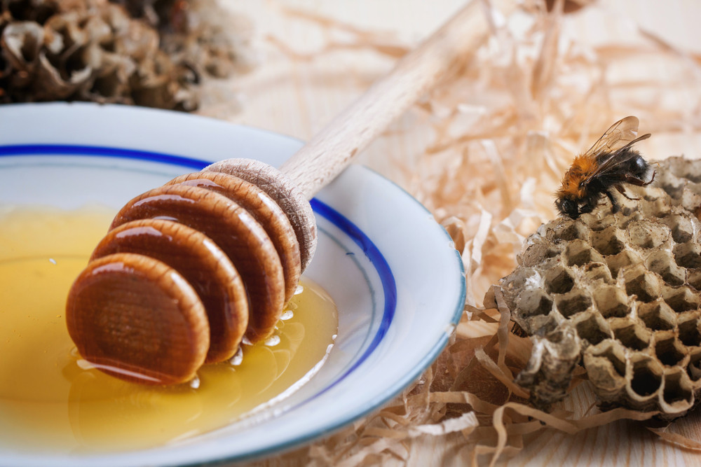 Plate Of Honey With Honeycombs