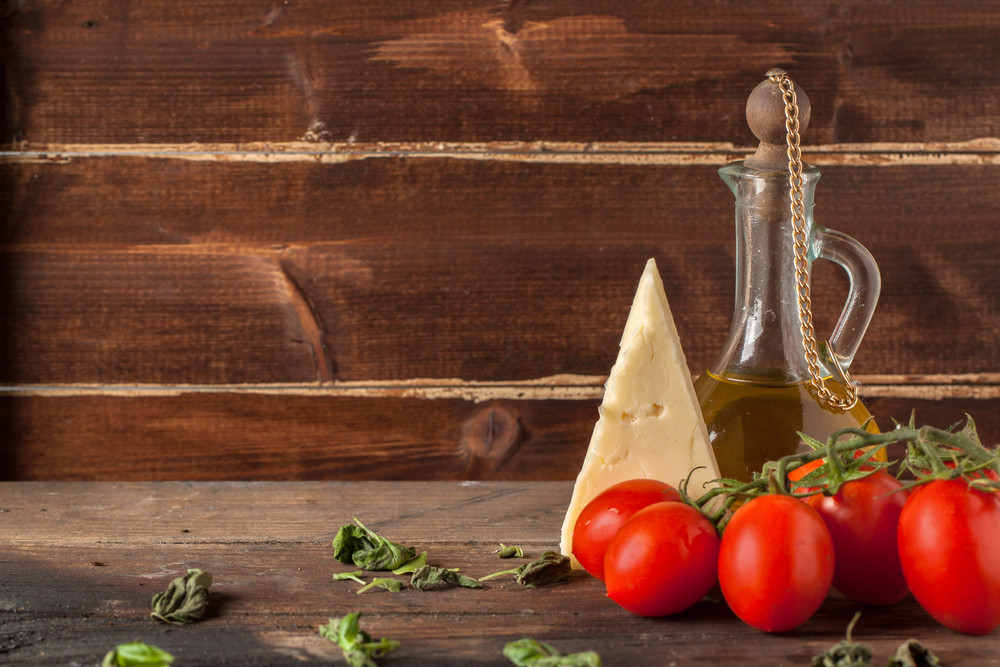 Herb, Oil, Tomatoes, And Cheese