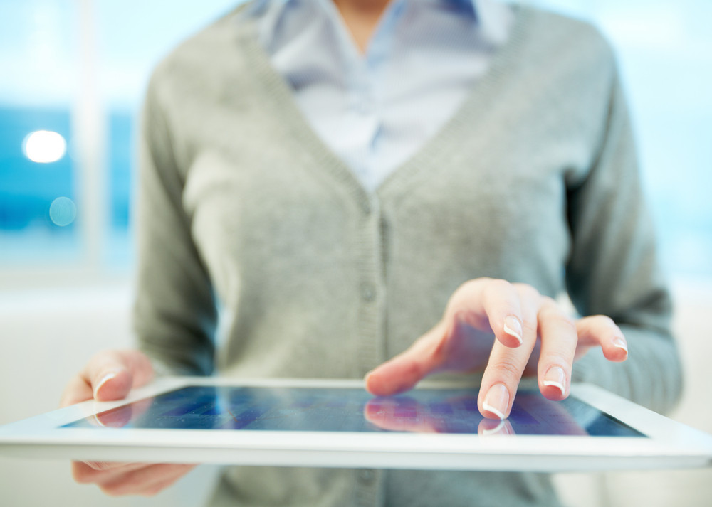 Hands Of White Collar Worker Using Touchpad