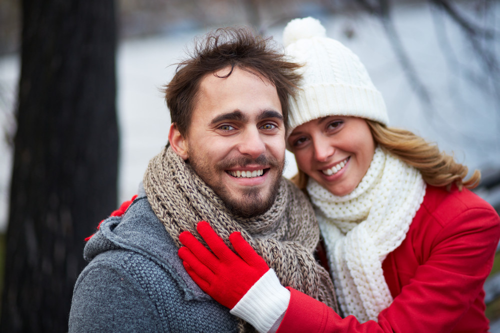 Image Of Affectionate Couple In Warm Clothes Outside