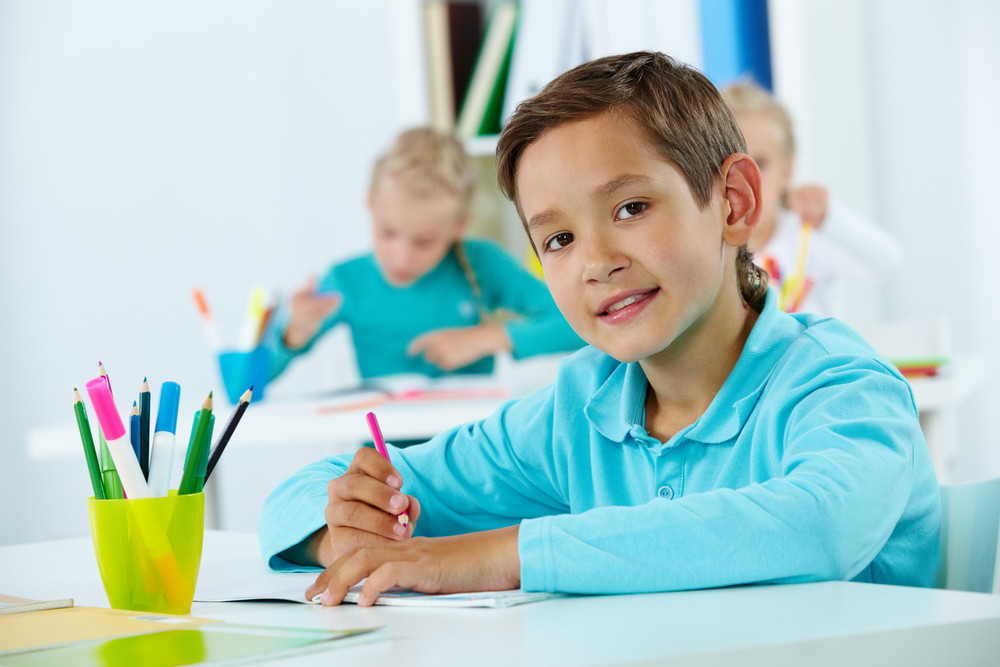 Portrait Of Cute Lad Drawing With Classmates On Background