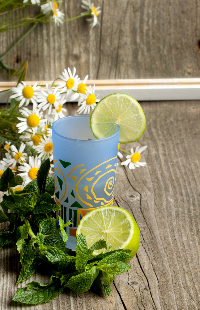 Glass Of Lemonade With Mint