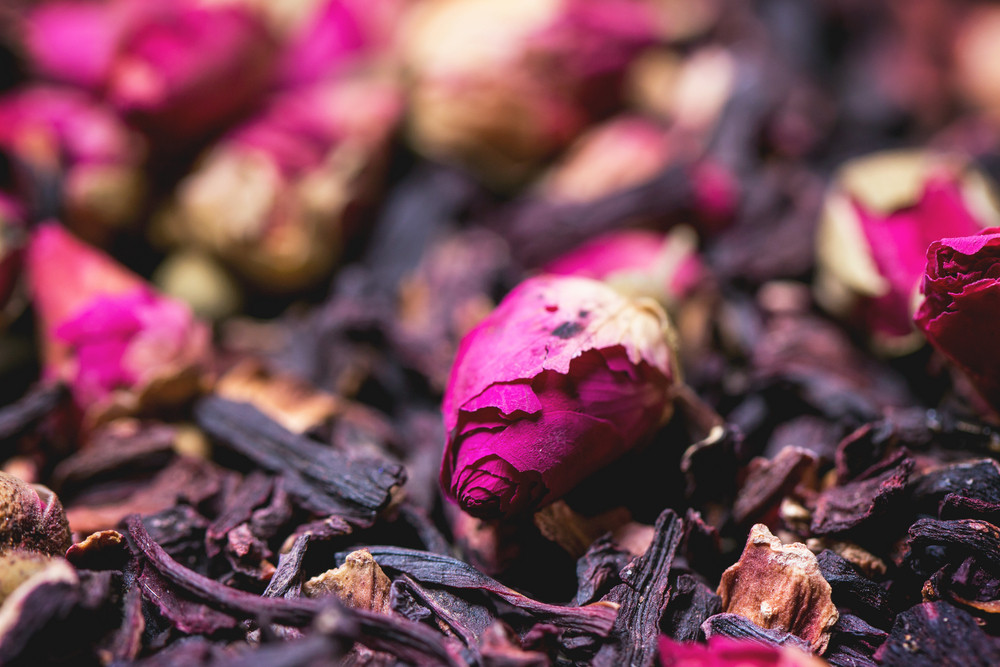 Tea Roses And Dried Hibiscus Flower
