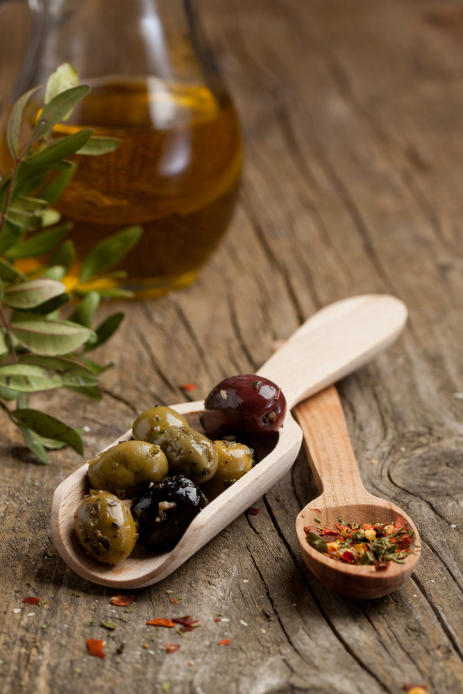 Olives With Olive Oil And Spices