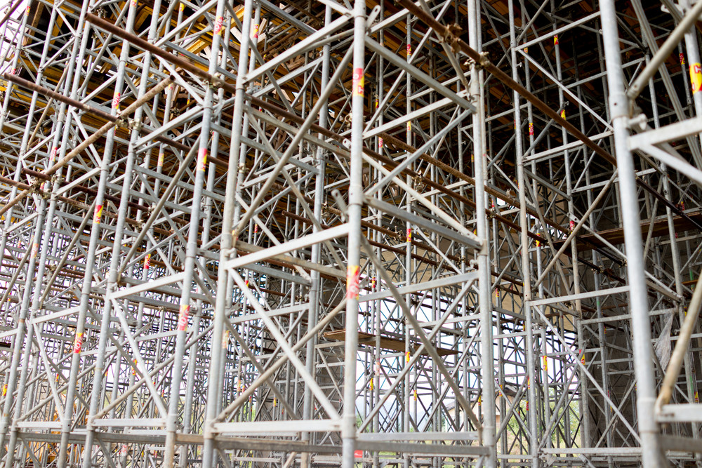 Scaffolding as safety equipment on a construction building  site
