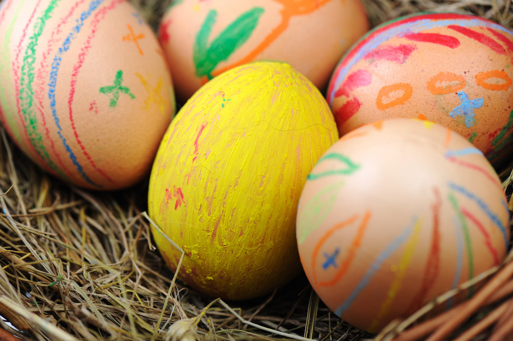 Easter colorful eggs in basket