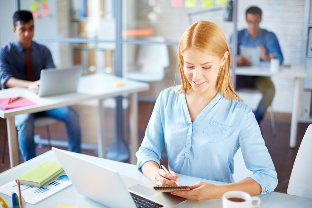 Young Businesswoman Looking Through Notes In Office