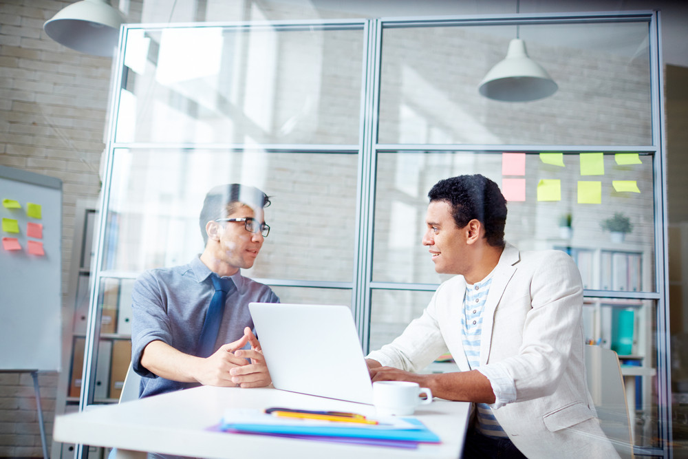 Two Young Businessmen Discussing Plans In Office