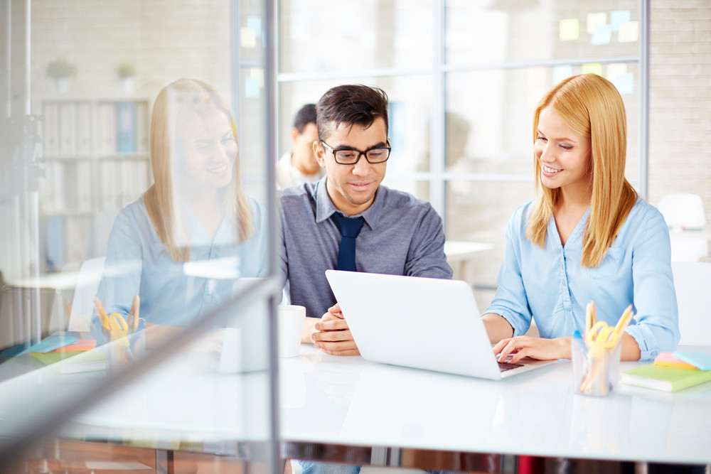 Young Businesswoman With Laptop Consulting Her Colleague In Office