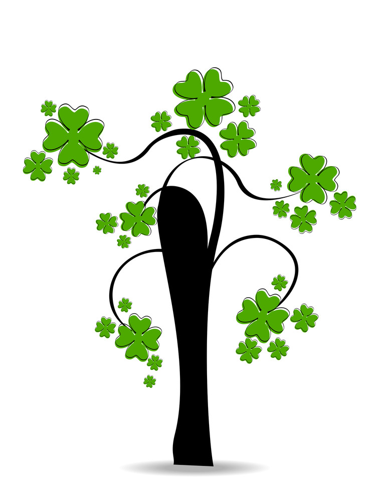 A Beautiful Clover Tree On White Background.