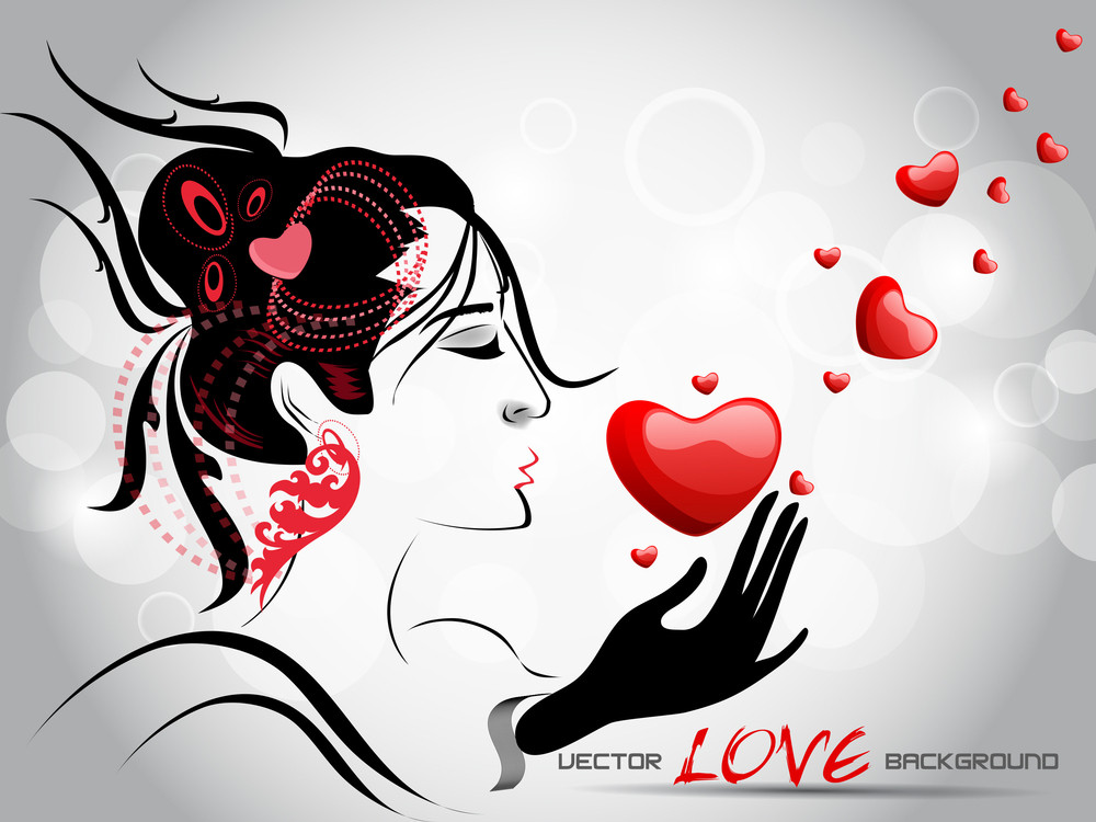 A Beautiful Girl Holding A Red Heart With Abstract Background.