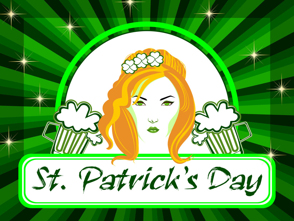 A Beautiful Girl With Beer Mugs On The Batch Of St. Patrick's Day. Vector