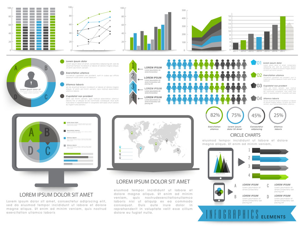 A big set of Business Infographics elements including bars graphs and desktop screen showing pie chart and world map.