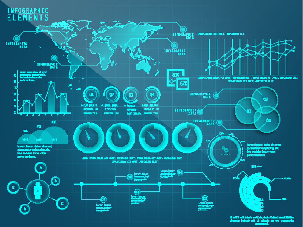 A big set of creative business infographic elements including statistical charts