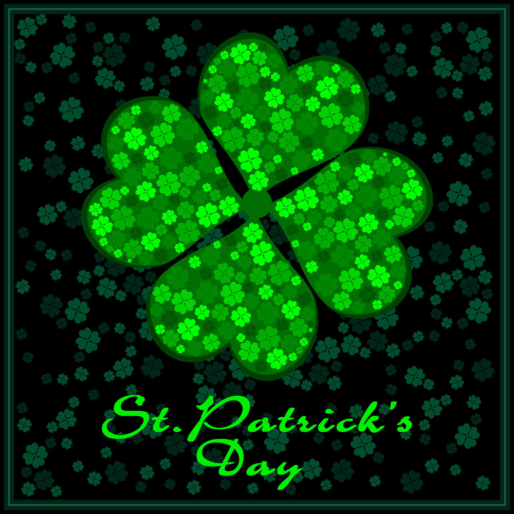 A Bright Shamrock Leaf With Beautiful Background. Vector