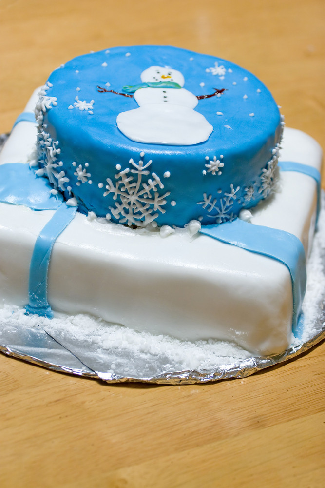 A cake with fondant icing featuring a winter design.