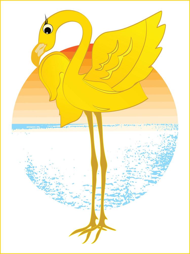 A Cartoon Illustration Of A Cute Ostrich Bird