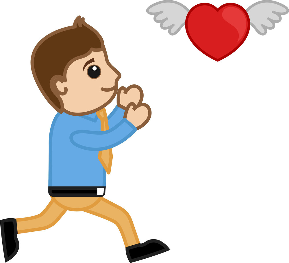 A Cartoon Man Trying To Catch A Flying Heart