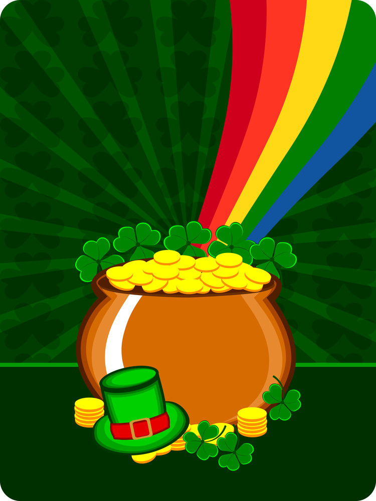 A Cauldron With Gold Coins And Hat Having Rainbow On The Shamrocks Background. Vector.