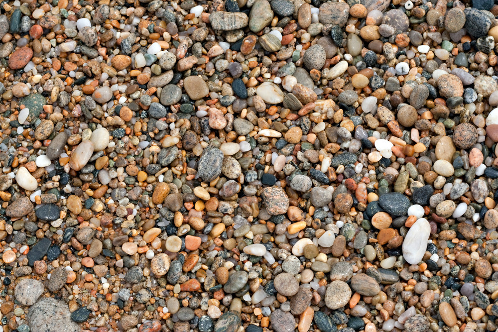 A close up view of wet pebbles and stones washed ashore on the beach.