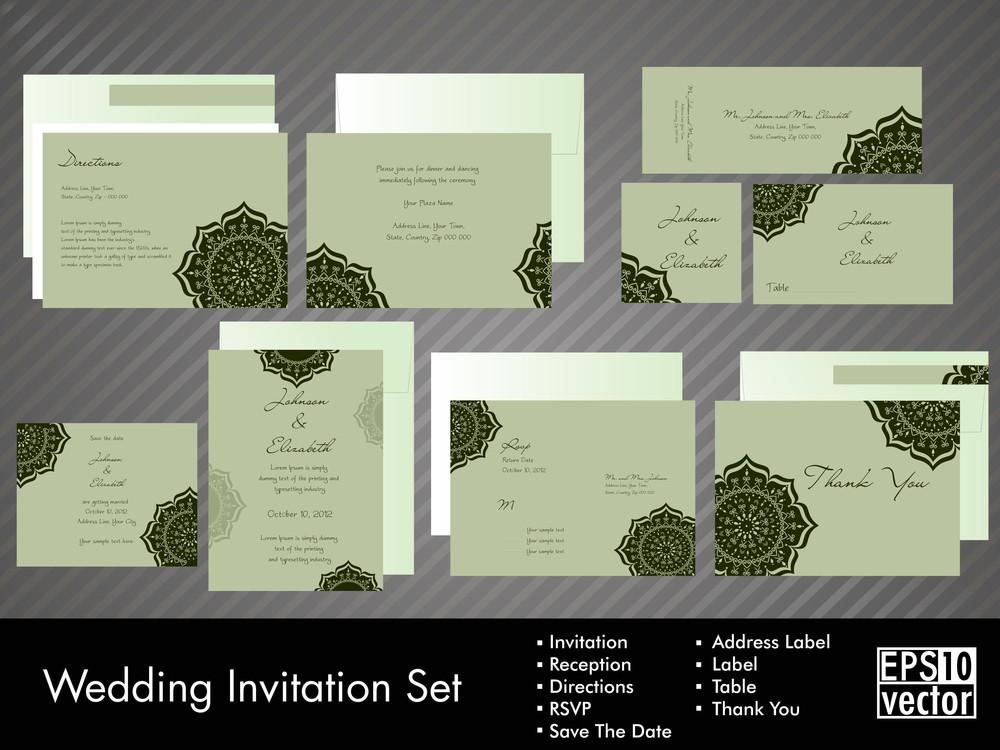 一個完整的婚禮請柬套件,美麗,優雅的抽象花卉設計與五顏六色的樹葉圖案明亮的黃色背景10