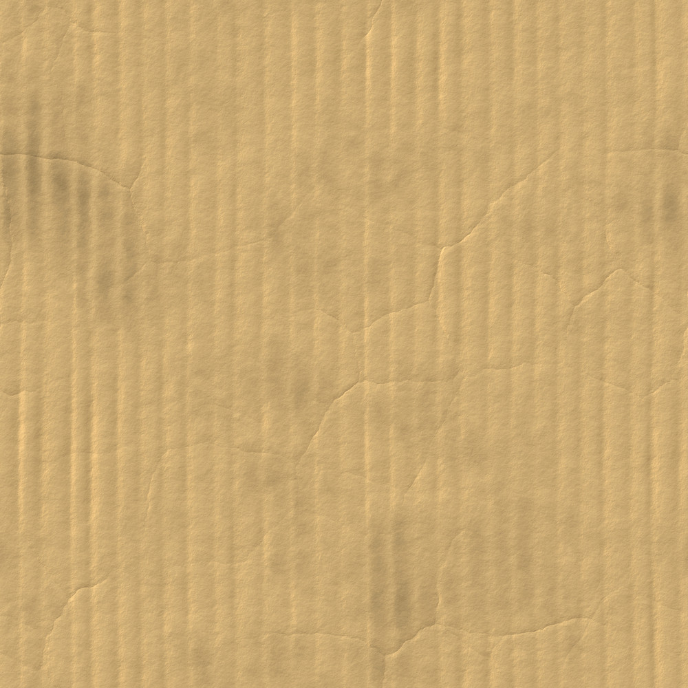 A corrugated carboard texture with creases and wrinkles in certain spots.