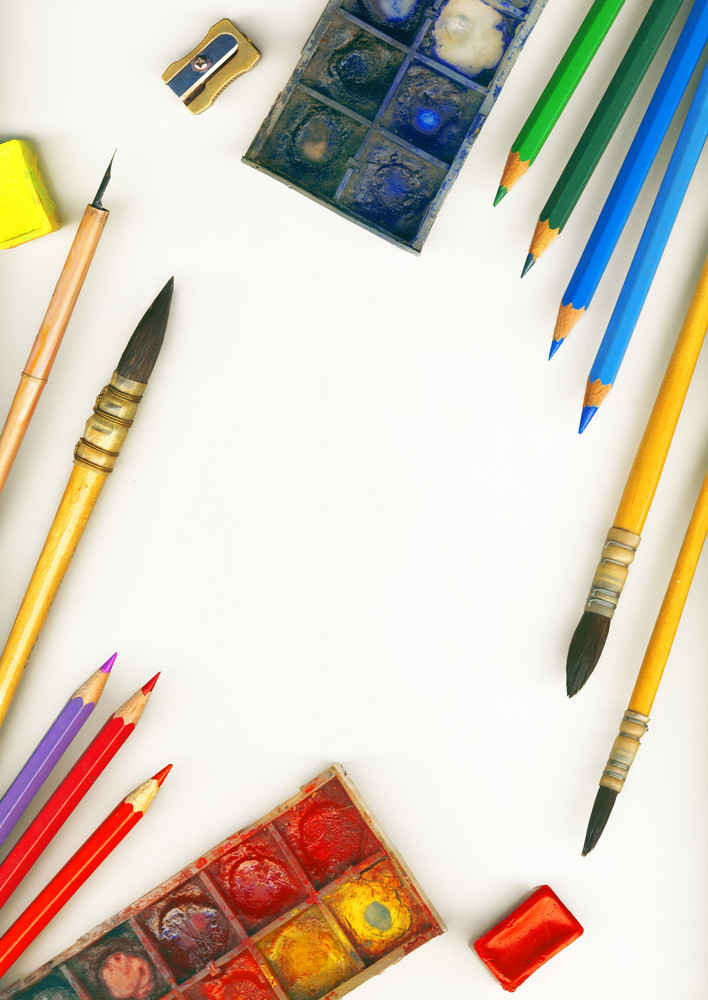 A Frame Made Of Professional Tools For Drawing