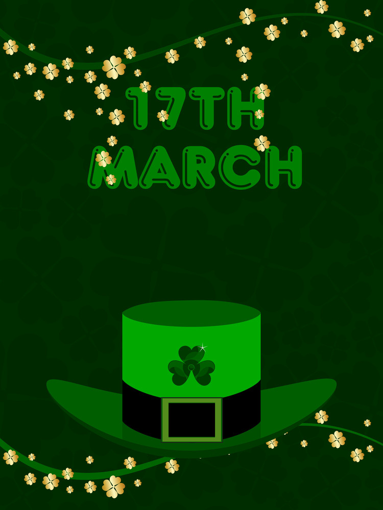 A Green Hat With The Branches Of Shamrock's Leaf. Vector.