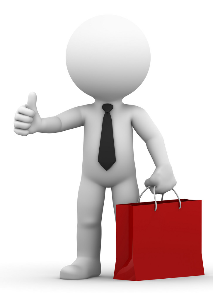 A Happy Businessman Holding Shopping Bag And Giving Thumb Up