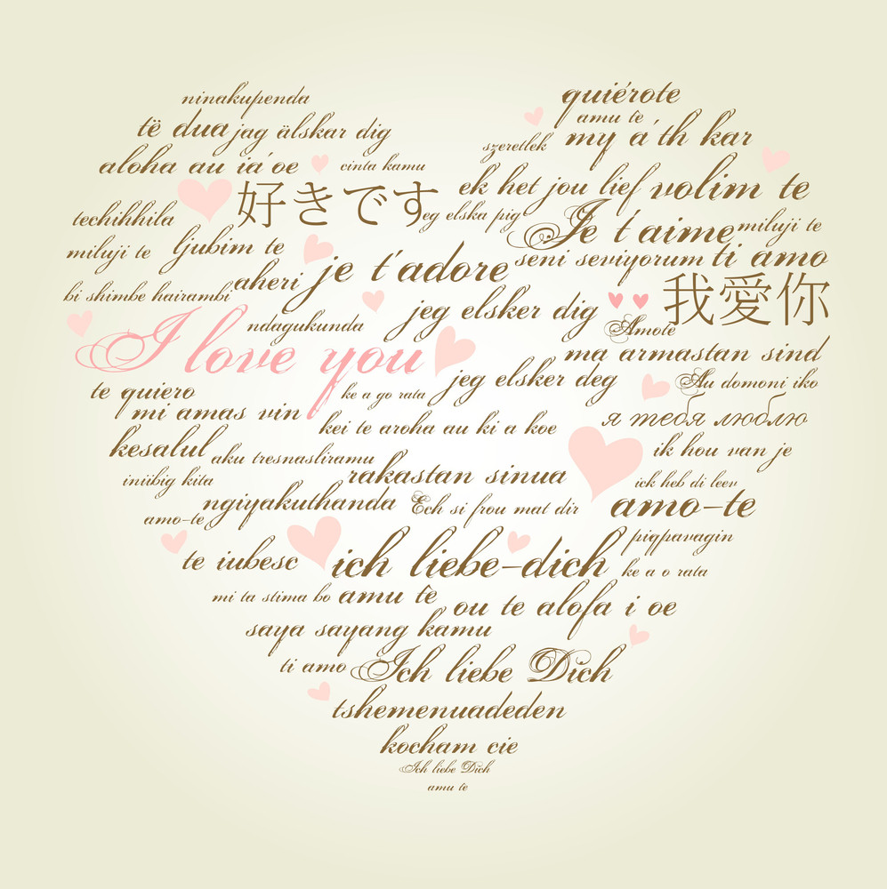 "A Heart Made Of Words ""i Love You"" In Many Languages"