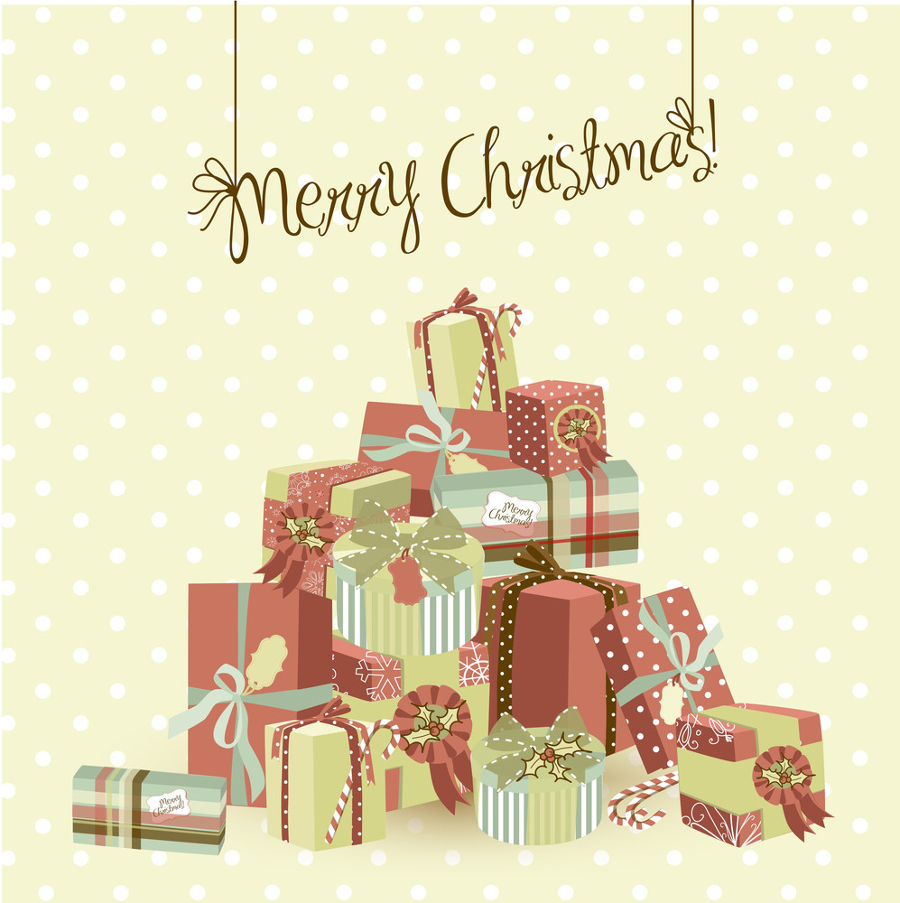 A Huge Pile Of Christmas Gifts Vector Illustration
