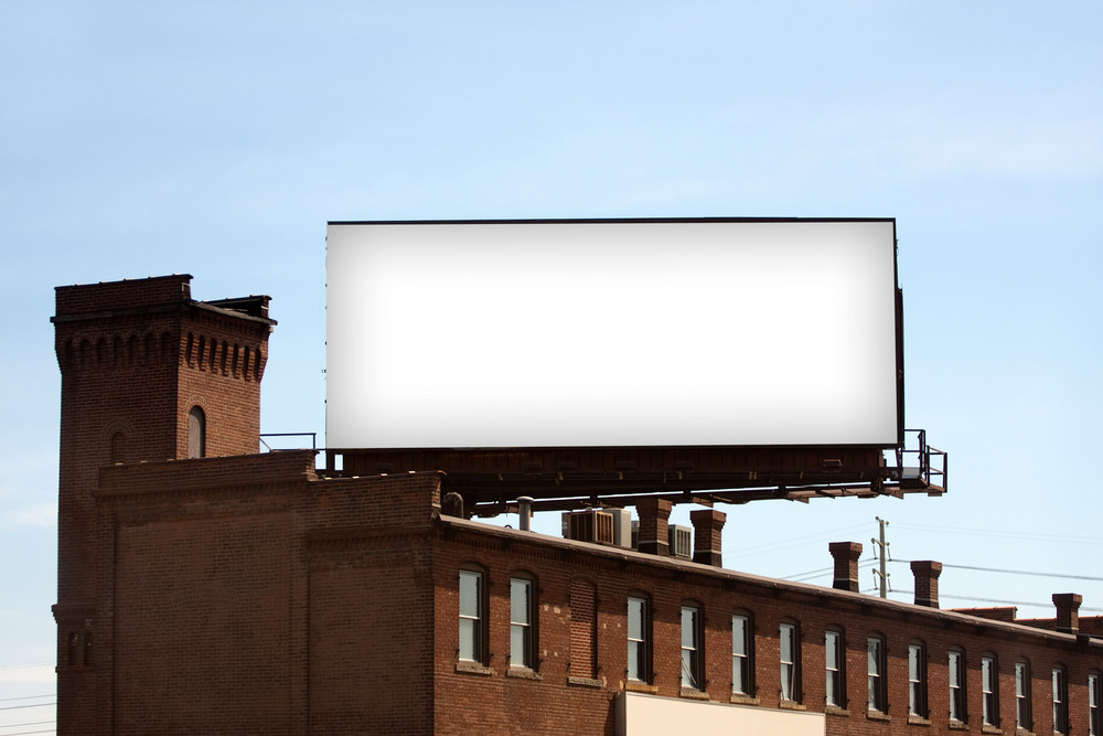 A large blank urban billboard with copy space ready for your design or mock up text.  Clipping path is included for a quick and easy selection.