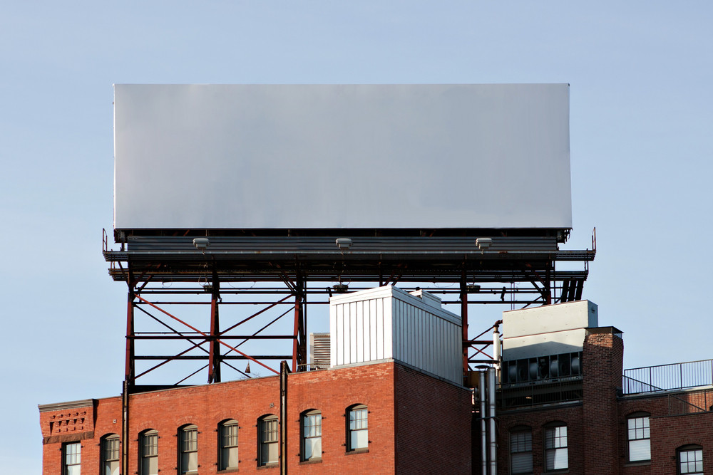 A large blank urban billboard with copy space ready for your design or mock up text.