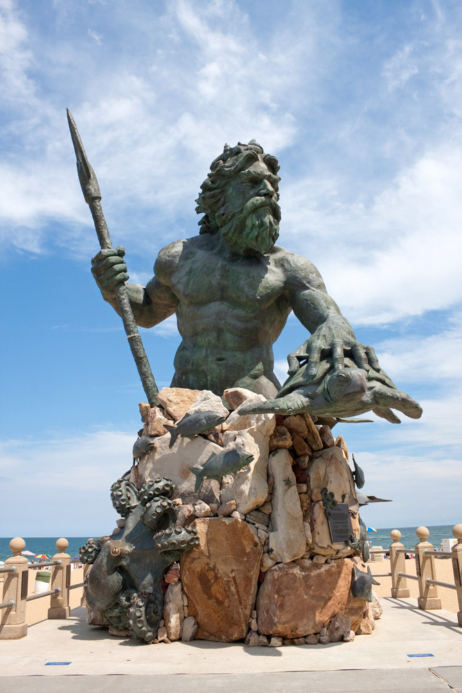A large public statue of King Neptune  welcomes all to Virginia Beach in Virginia USA.