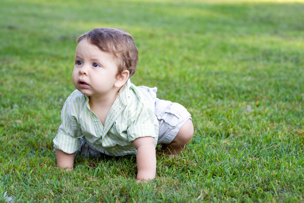 A little baby boy crawling through the green grass outdoors.