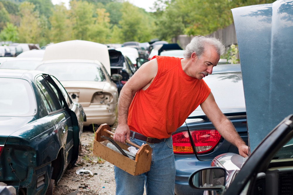 A man browses for car parts on decommissioned used cars at an automotive junk yard.