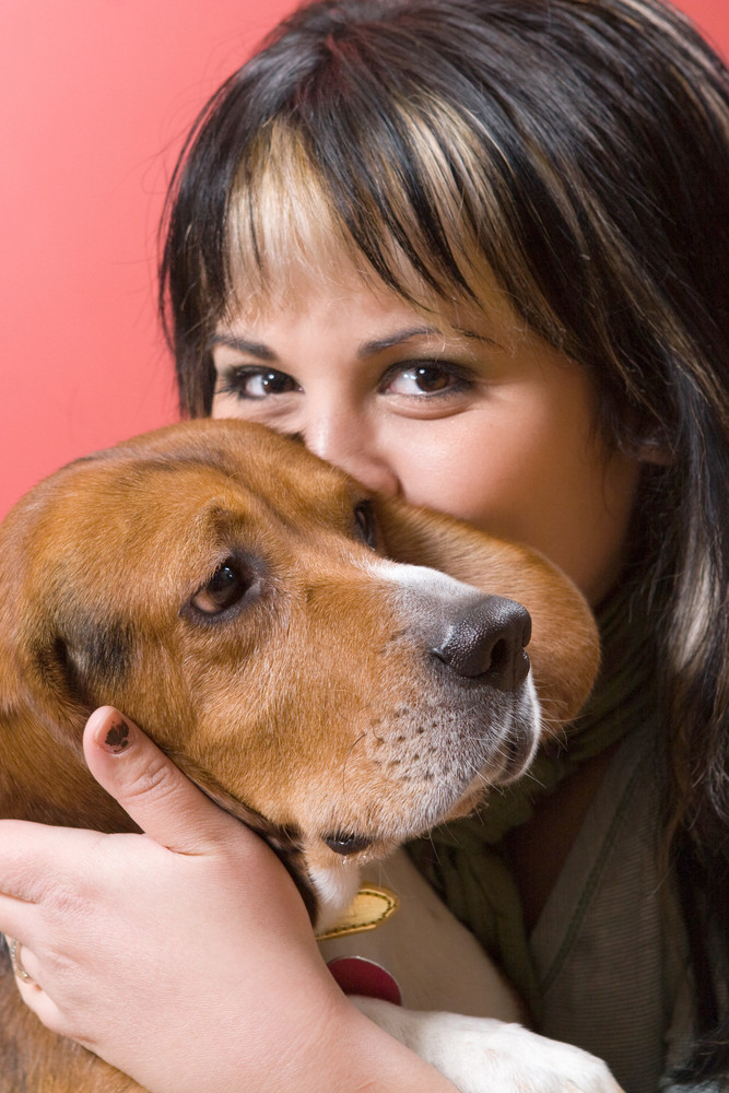 A pretty young hispanic woman kissing her beagle puppy.