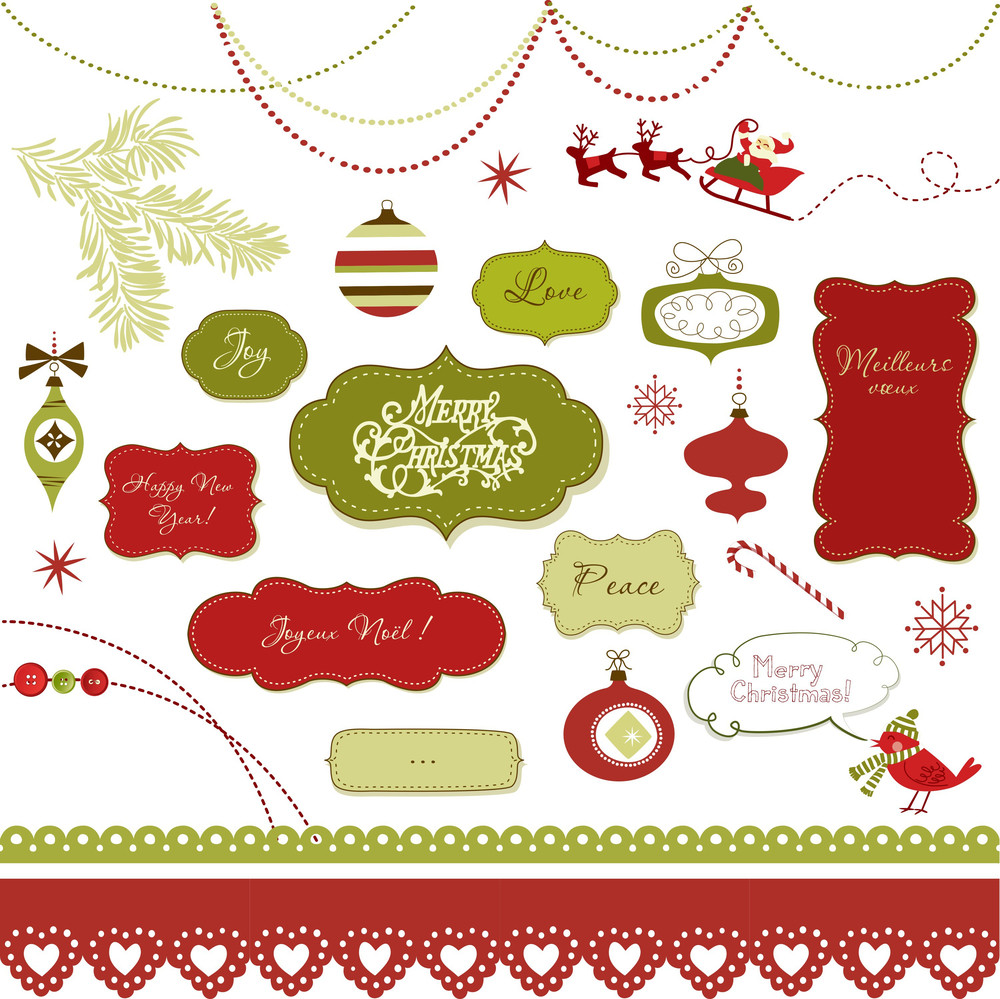 A Set Of Christmas Scrapbook Elements