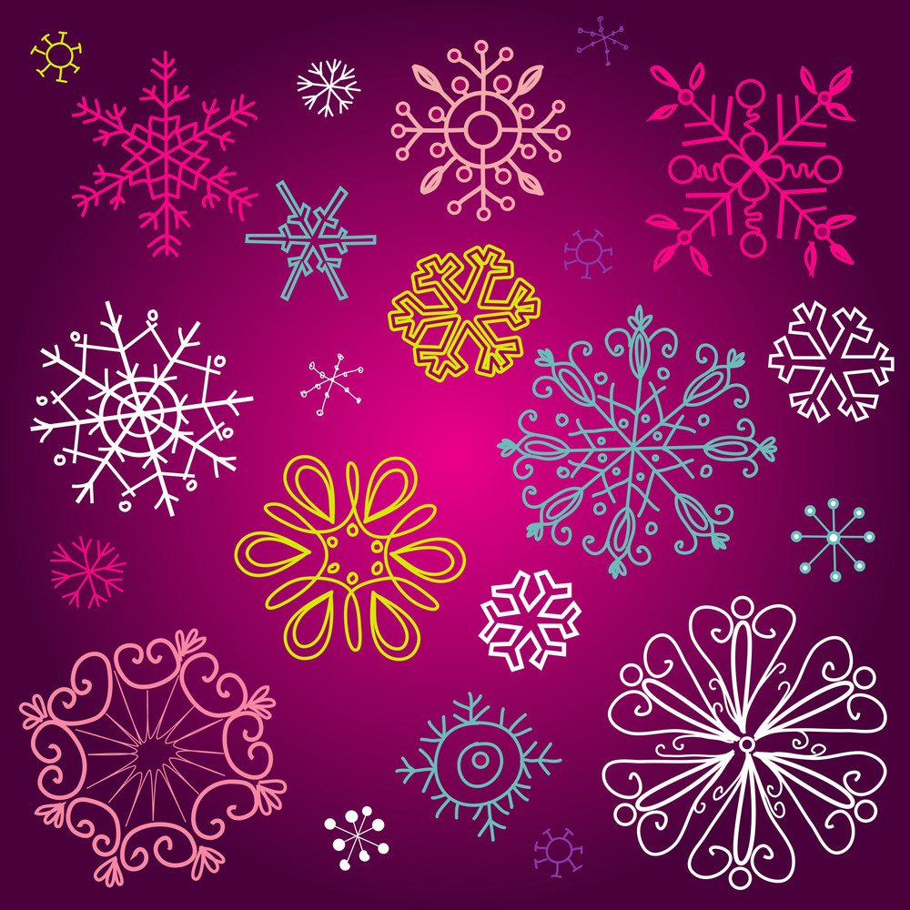 A Set Of Different Cute Snowflakes