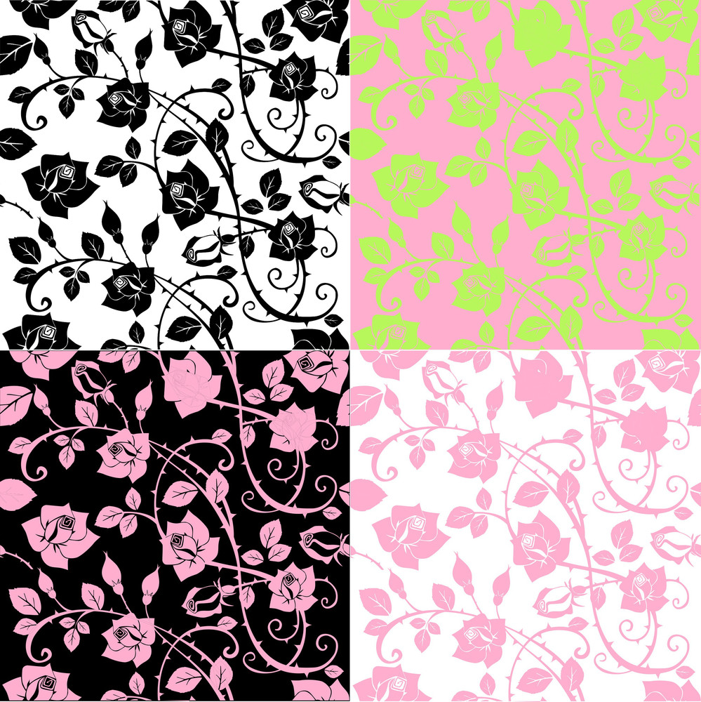 A Set Of Seamless Floral Rose Patterns