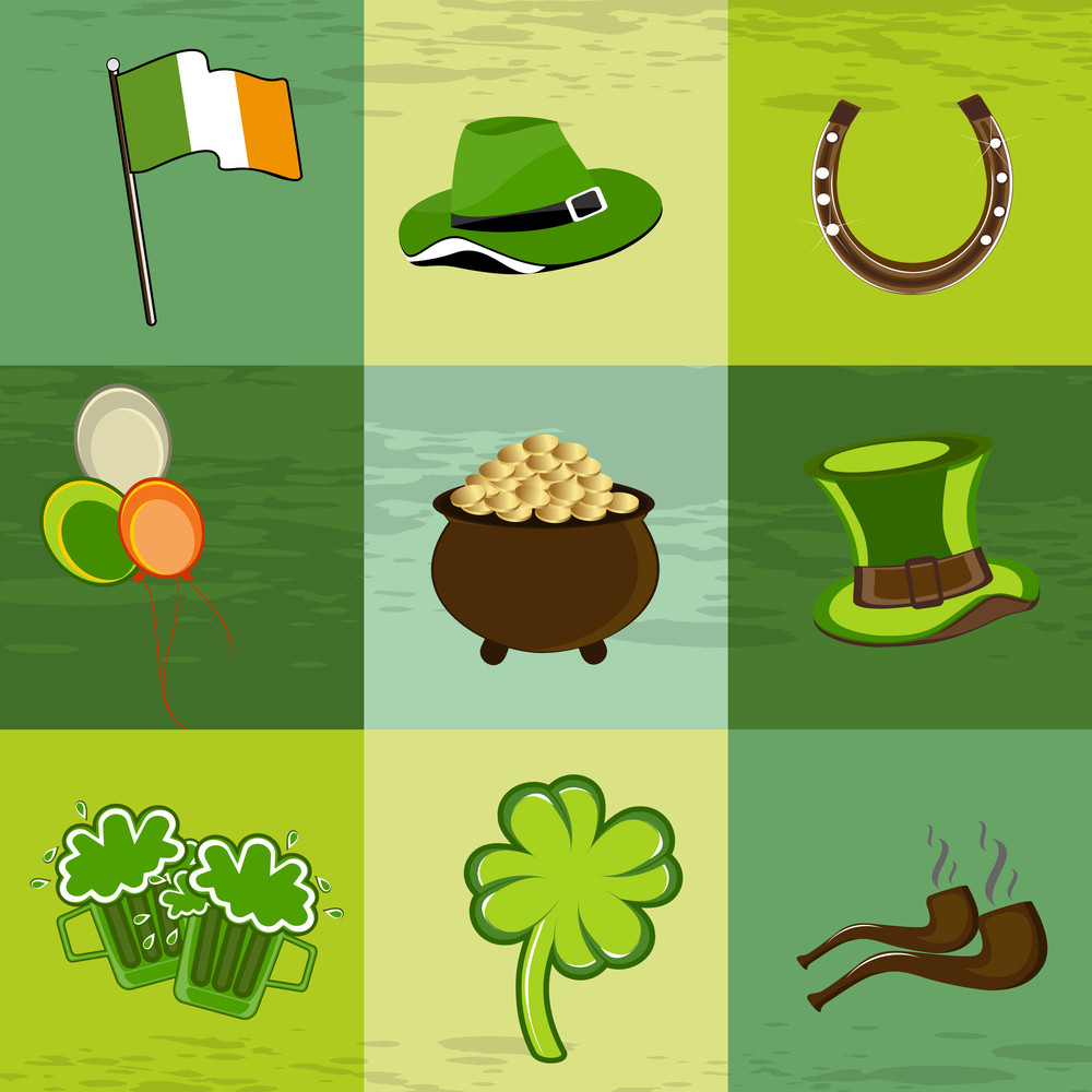 A Set Of St. Patrick's Day Elements.