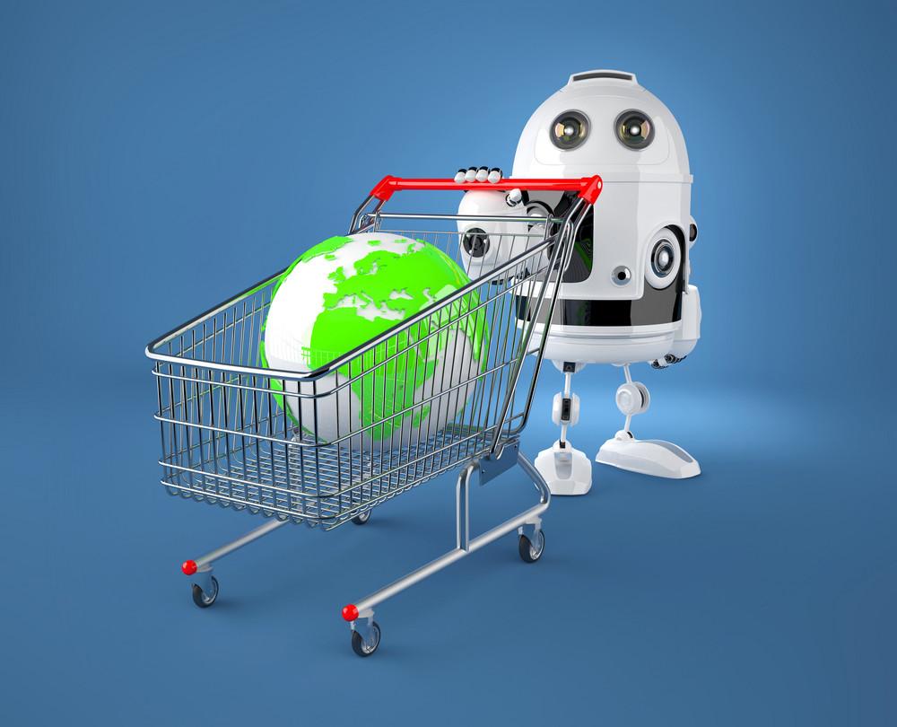 A Shopping Cart Containing A Globe. Gglobal Market Concept