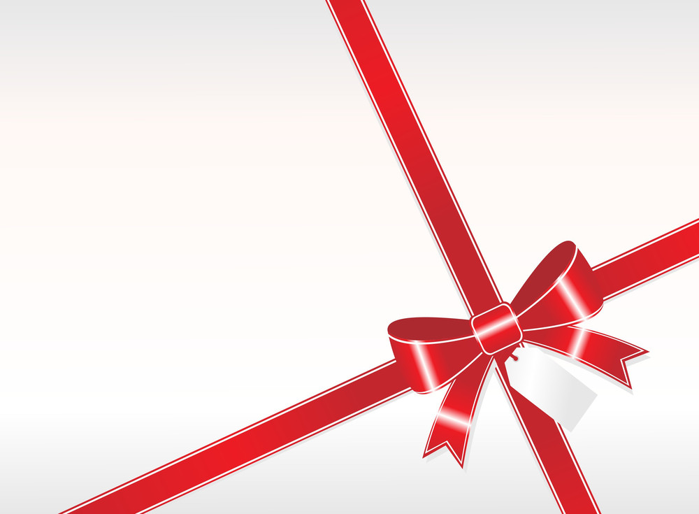 A Simple Red Ribbon With Tag On White Background